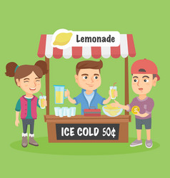 Little caucasian kid selling lemonade vector