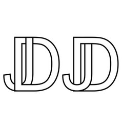 logo jd dj icon sign two interlaced letters j d vector image