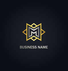M initial star line company gold logo vector
