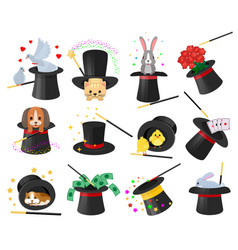magician hat illusionist show with animal vector image
