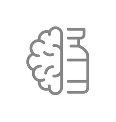 Medical ampoule and brain line icon vaccination vector
