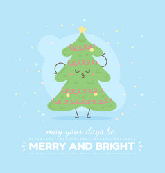 merry christmas card with cute cartoon character vector image