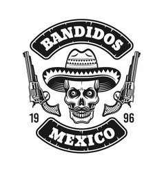 Mexican bandit emblem with skull in sombrero vector
