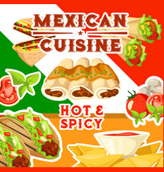 mexican cuisine with hot and spicy food vector image