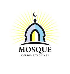 minimalist mosque building logo vector image