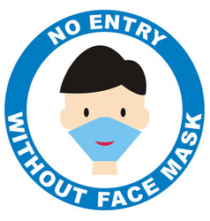 No entry without face mask blue circle vector