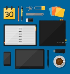 Notebook design top view on desk concept vector