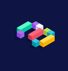 number 3 isometric colorful cubes 3d design vector image