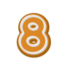 Number 8 gingerbread font peppermint honey-cake vector