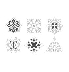 ornamental graphic flowers geometric shapes set vector image