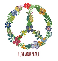 Peace symbol with colorful flowers vector