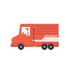 red cargo delivery van with courier fast shipping vector image
