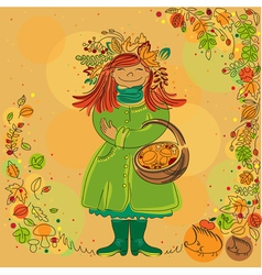 Redhead smiling girl in autumn scene vector image vector image