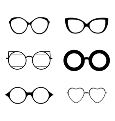 Retro collection of 6 various glasses Sunglasses vector image