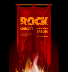 rock band concert poster on red vintage banner vector image