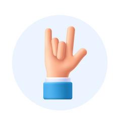 Rock on gesture hand sign 3d emoji vector