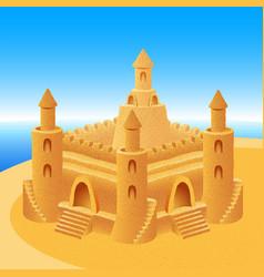 sand castle building sea horizon summer beach vector image