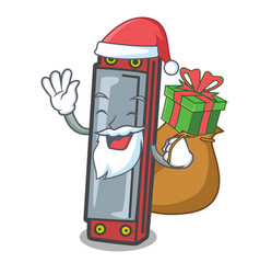 Santa with gift harmonica mascot cartoon style vector