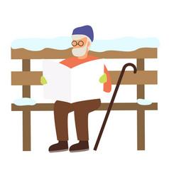 senior reading newspaper on snowy bench vector image