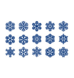 set of decorative snowflakes christmas winter vector image