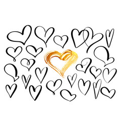 set of hand drawn sketchy hearts on valentines day vector image
