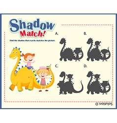 Shadow matching game template with kids and dragon vector image