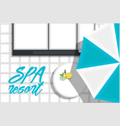 Spa hotel banner with beach loungers vector