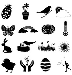 Spring season icons set vector image