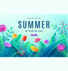 Summer sale ad background with paper cut fantasy vector