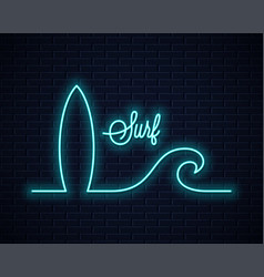 Surf board neon sign neon wave line concept vector