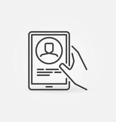 tablet video conference outline icon video chat vector image