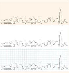 Taipei hand drawn skyline vector