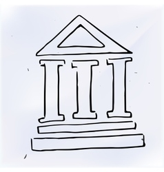 The three pillars of the building vector image