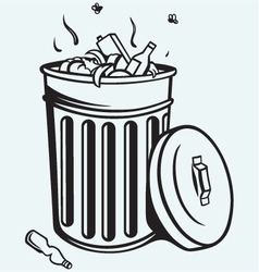 Trash bin full of garbage vector