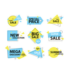 Trendy modern geometric sale badge and labels set vector