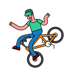 tricks on bicycle guy on bike repent of bmx vector image