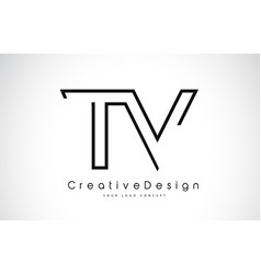Tv t v letter logo design in black colors vector