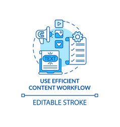 Use efficient content workflow blue concept icon vector