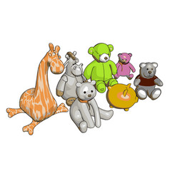 Various stuffed toy animals on white background vector