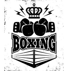 vintage emblem for boxing vector image