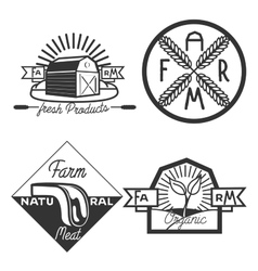 Vintage farm emblems vector image