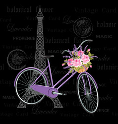 vintage postcard with eiffel tower and bicycle vector image