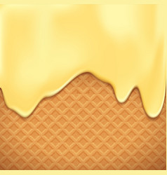 waffles with vanilla chocolate dessert background vector image