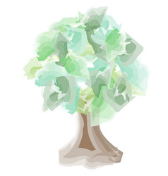 watercolor tree with a wide trunk vector image