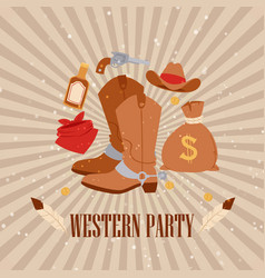 western cowboy american party vector image
