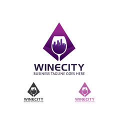 wine city logo design vector image
