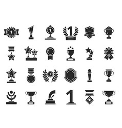 winners trophies icons cups awards medals with vector image