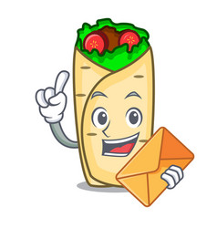 with envelope burrito character cartoon style vector image