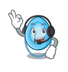 with headphone oxygen mask mascot cartoon vector image