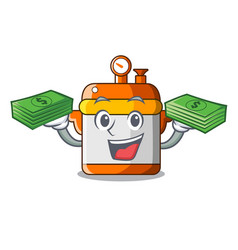 With money electric rice cooker isolated on vector